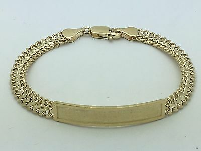 """New Solid 14K Yellow Gold 7.25"""" Double Cuban ID Link Chain Bracelet 11 g 7.3 mm"""