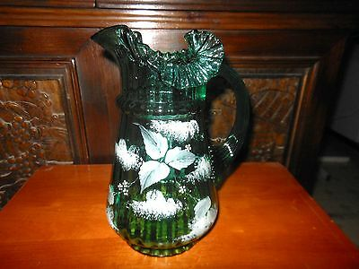 Antique Hand Painted Mary Gregory Style Pitcher