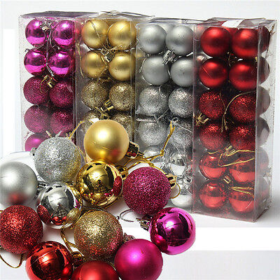 24PC Holiday ChristmasTree Ball Bauble Hanging Ornament Decoration Home Party
