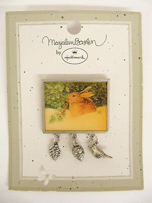 NEW Hallmark 1999 Marjolein Bastin Bunny in Snow Christmas Metal Lapel Pin