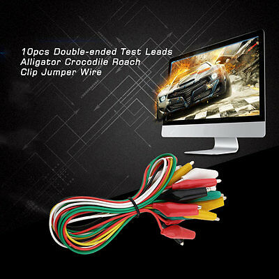W@10pcs Double-ended Test Leads Alligator Crocodile Roach Clip Jumper Wire@