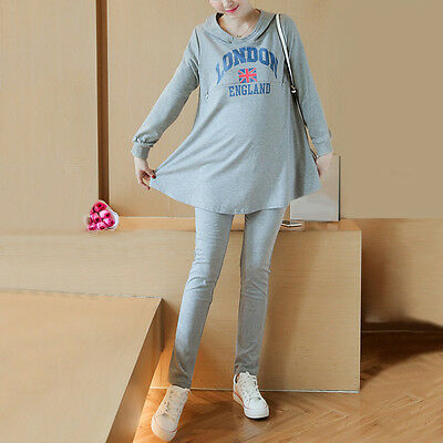 Fashion Pregnant Women Outfits Casual Clothes Set Maternity Loose Tops + Pants