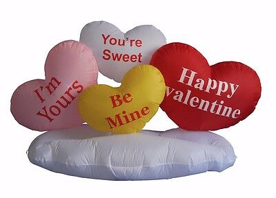 Valentine Day Air Blown Animated Inflatable Yard Lawn Decoration Hearts on Cloud