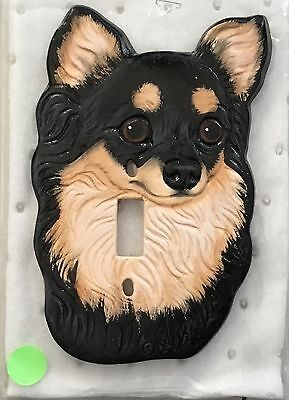 Vintage Ceramic black & tan LONGHAIR Chihuahua Dog Light Switch Cover 1984