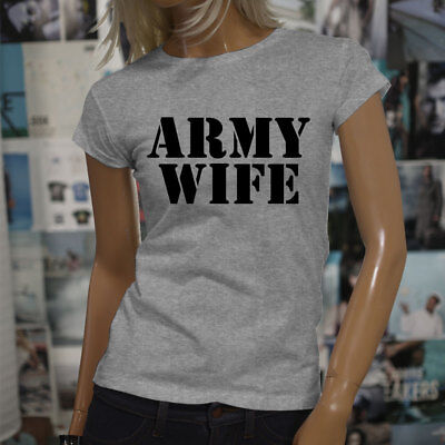 5589a212 ARMY WIFE ARMED SPECIAL FORCES PROUD MILITARY Womens Gray T-Shirt