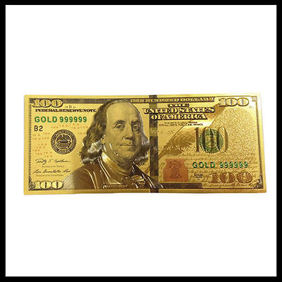 Brand New Style U.S. Note $100 One Hundred Dollars 24k .999 Gold Banknote Sleeve