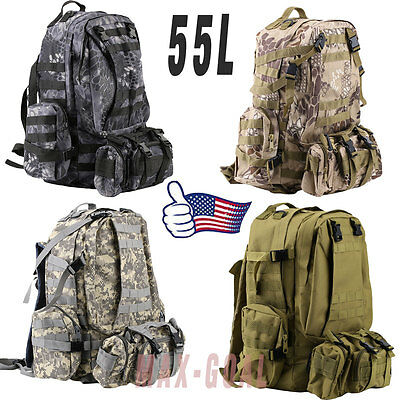 NEW 55L Molle Outdoor Military Tactical Bag Camping Hiking Trekking Backpack LOT