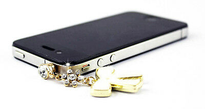 New Fluffy Crystal Butterfly Headphone Jack Dustproof Plug for Phone Color White