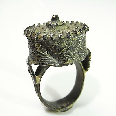 Byzantine Pre Georgian Medieval Ancient Ring Bronze Unisex Seal Signet Woven