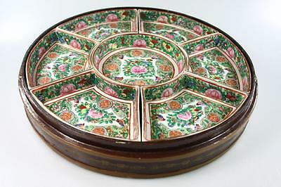 Antique Chinese Famille Rose Ceramic Plates In Lacquer Box