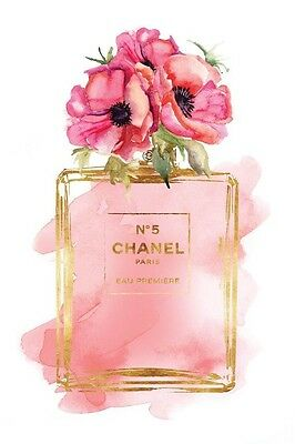 CHANEL NO 5 PERFUME FLOWERS ART IMAGE A4 Poster Gloss Print Laminated (New)