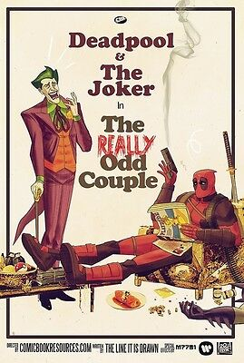 DEADPOOL AND THE JOKER ART IMAGE A4 Poster Gloss Print Laminated (New)