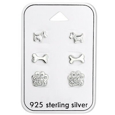 Girls Sterling Silver I Love Dogs Earring Set Studs Puppy Dog Paw Puppies 925