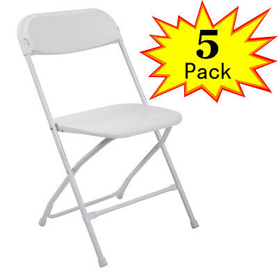 5PCS Plastic Folding Chairs Wedding Party Event Chair Commercial White New