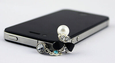 For Samsung iPhone 3.5mm Earphone Jack Anti Dust Plug Crystal Butterfly Stopper