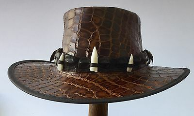 Leather hat with genuine crocodile  Band  and 5 teeth  only one in stock Medium