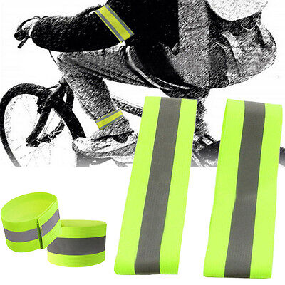 2x Green Safety Reflective Sport Arm Band Strap Armband Night Running Cycling