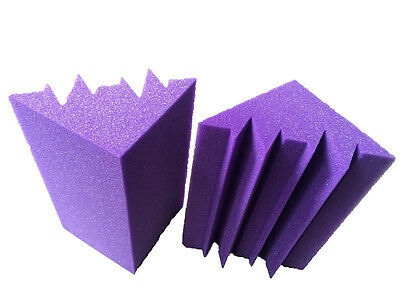 Fireproof  Acoustic Corner Sponge  Purple Bass Trap Studio Foam 12 x 12 x 24cm10