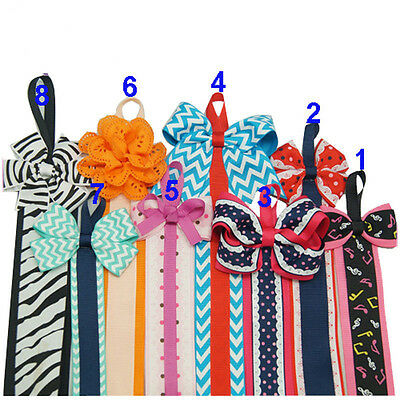 1 Pc Girls Hair Bows Holder Ribbon Cute Patterns Clips Holder Cheer Bows holder