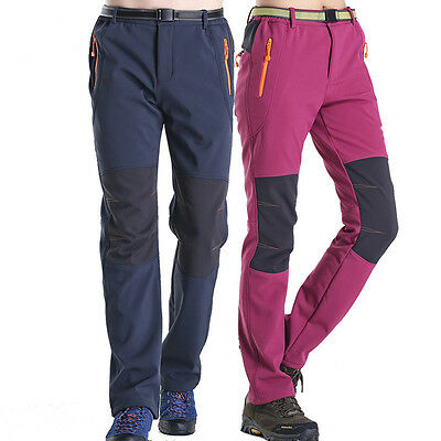 Men Women Thick Casual Camping Hiking Trekking Trousers Soft Shell Outdoor Pants
