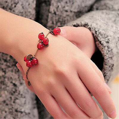 Hot Summer Beach Style Vintage Copper Sweet Red Cherry Alloy Bracelet Women Gift