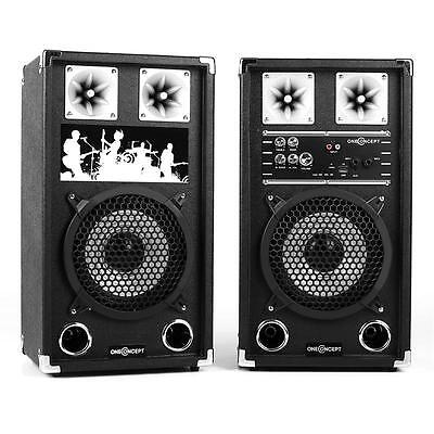 ONECONCEPT BSX-8A KARAOKE SYSTEM PA SET 80W SPEAKER SET 20cm POWERED SPEAKERS