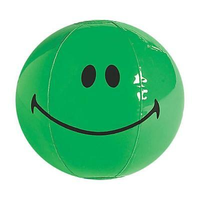 11 Inch Inflatable Emoji Green Smile Face Blow Up Novelty Beach Ball Kids Toy
