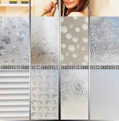 Home Glass Window Door Removable Privacy Frosted Film Stickers Decor 45x200cm