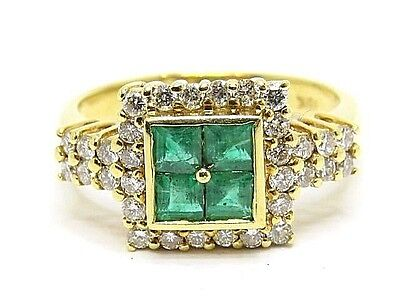 Emeralds Cluster Ring 1.50ct. & Diamonds 0.40ct. Yellow gold 18Carat Ring Size N