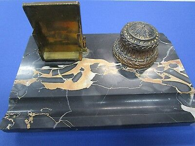 Art Deco Marble and Bronze Writing Desk Set with issues