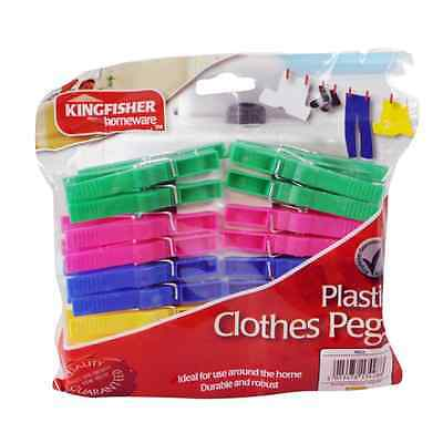 40 Heavy Duty Clothes Airer Dryer Pegs Plastic Storm Washing Line Clips