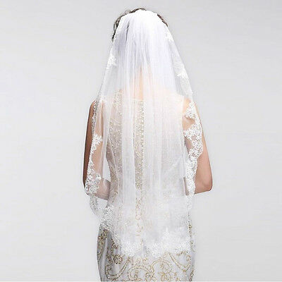 One Layer Fingertip Length Wedding Veil Lace Bridal Veil With Metal Comb