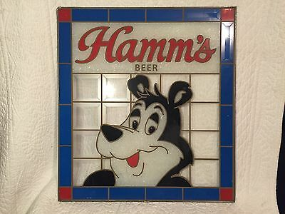 Vintage Hamm's Beer Stained Glass Advertising Sign Bar Pub Man Cave Wall Art