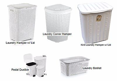 RATTAN style Plastic Storage Laundry Washing Clothes Toys Basket Hamper w/Lid