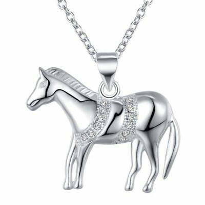 NEW Pretty 925P Silver & Crystal Horse Necklace & Earrings Set, UK Seller