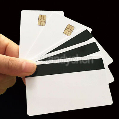 5/10/20Pcs PVC Blank Smart Card Sle4442 Chip + Magnetic Strip Hico 3 Track