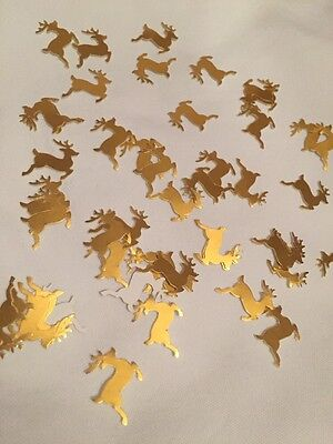 50 Gold shiny  Reindeer Table Confetti CARD Christmas Table-buy 2,get 1 FREE