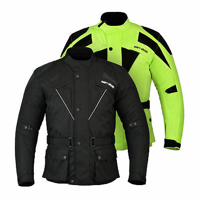 Mens Motorcycle Motorbike Jacket Waterproof Textile Black CE Armoured