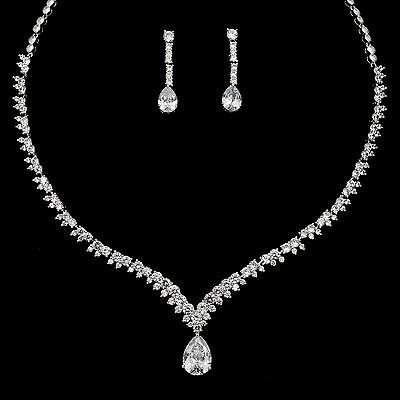 White Gold Plated Clear Zirconia CZ Necklace Earrings Wedding Jewelry Set 00857