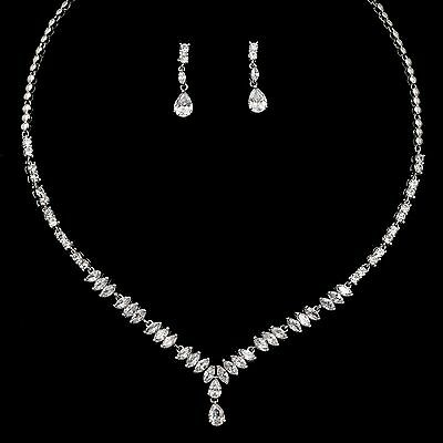 White Gold Plated Clear Zirconia CZ Necklace Earrings Wedding Jewelry Set 00899