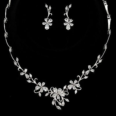 White Gold Plated Zirconia CZ Necklace Earrings Bridal Wedding Jewelry Set 00926