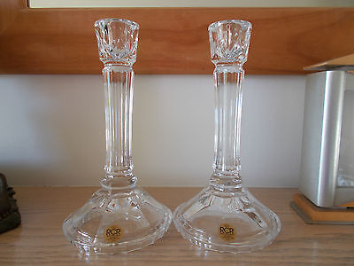 "Royal Crystal Rock Pair Of 8.5"" High Unused Glass Candlesticks -Boxed**free P&p*"