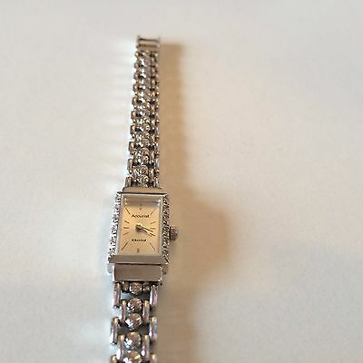 Accurist 9 Carat Solid White Gold & Diamond Ladies Watch - Solid Gold Strap