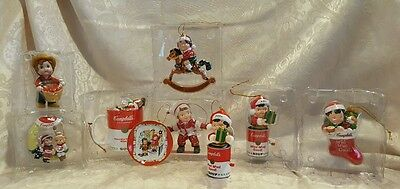 Lot of 9 Collector's Edition Campbell's Soup Christmas Ornaments