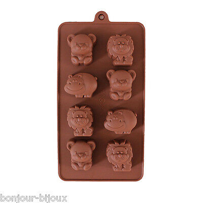 DIY Moule A Chaud/Froid Chocolat Cookie Gâteau Savon Ours Lion Hippo Silicone