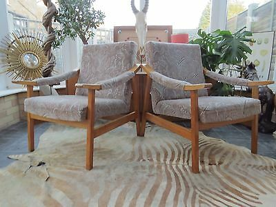 A Pair Of Vintage East German / Danish Style Lounge Armchairs 1976 D16-17