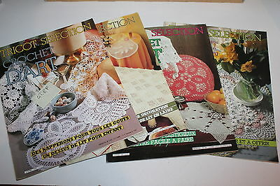 Lot de 4 magazines  - Crochet d'Art  Tricot selection  -  Lot  E F