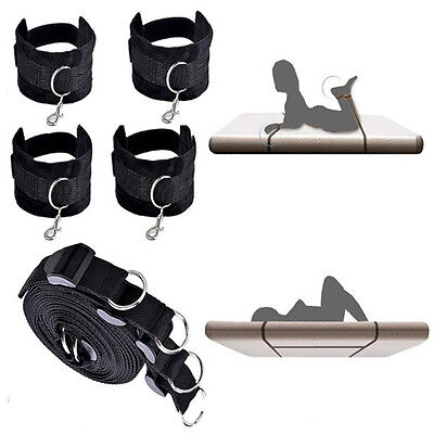 Under Bed Restraint System Cuffs Strap Set Black Nylon