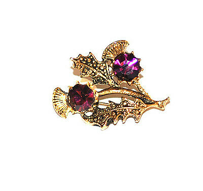 Scottish 2 Thistle Brooch in antique GP Ruby by Miracle Jewellery MBG398A