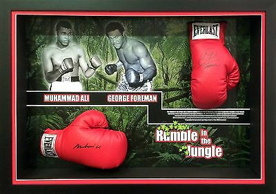 Muhammad Ali George Foreman Hand Signed Official Boxing Gloves Framed with COA